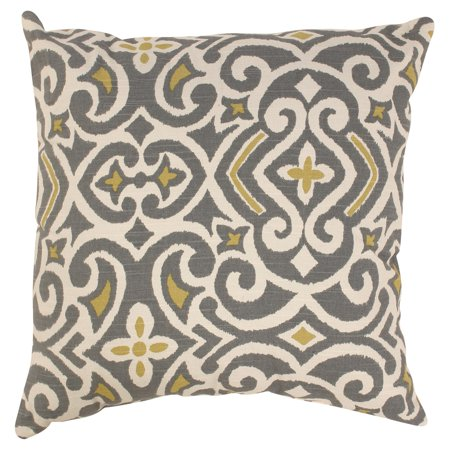 Pillow Perfect Decorative Gray and Yellow Damask Square Toss Pillow ()