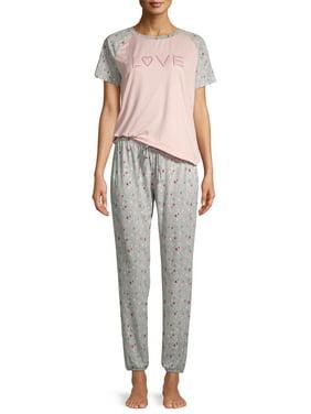 EV1 from Ellen DeGeneres Love & Hearts Short Sleeve Raglan Pajama Set Women's