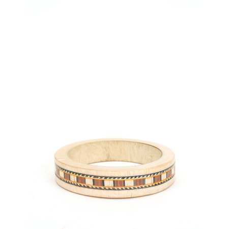 Women's Wooden Bangle Bracelet with Indian Tribal Pattern - Wooden Bangles