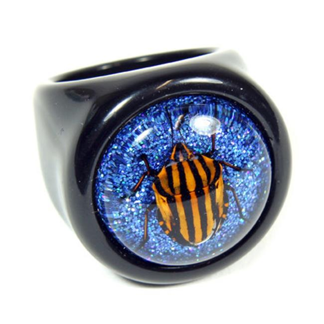 ED SPELDY EAST R0015-7 Ring  Striped Sheild Bug  Black Ring with Shiny Blue Back  Size 7