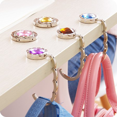 Handbag Table Holder (Crystal Table Folding Bag Purse Handbag Hook Hanger Holder 10 Colors White Navy)