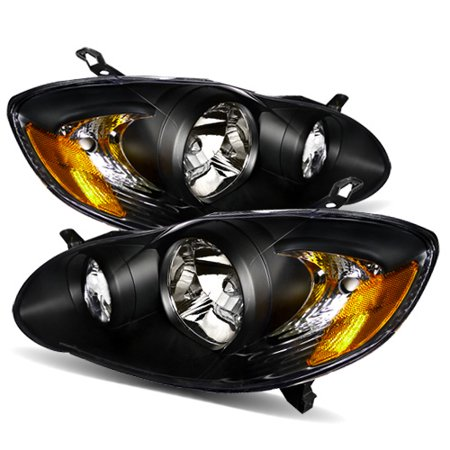 - For 03-08 Toyota Corolla JDM Black Crystal Aftermarket Headlights Lamps Pair