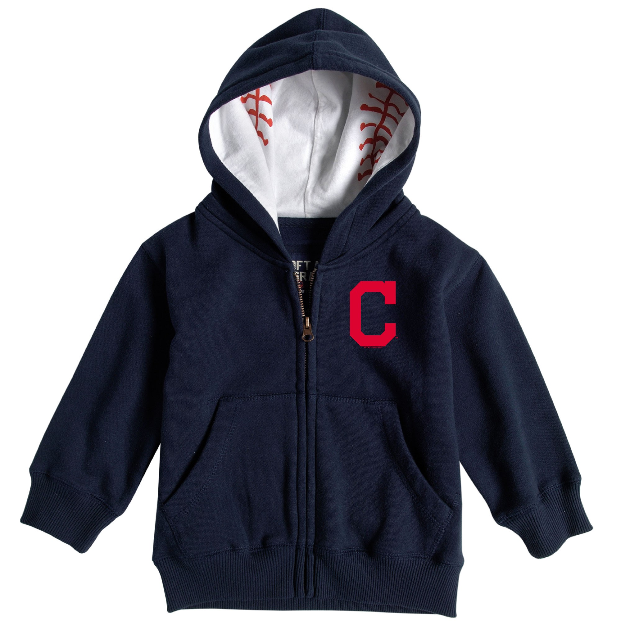 Cleveland Indians Soft as a Grape Infant Baseball Print Full-Zip Hoodie - Navy