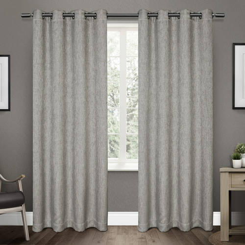 Exclusive Home Vesta Heavyweight Textured Linen Blackout Window Curtain Panel Pair with Grommet Top
