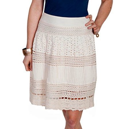 HC210-IVO-XS Womens Multi Panel Short Skirt, Ivory - Extra Small