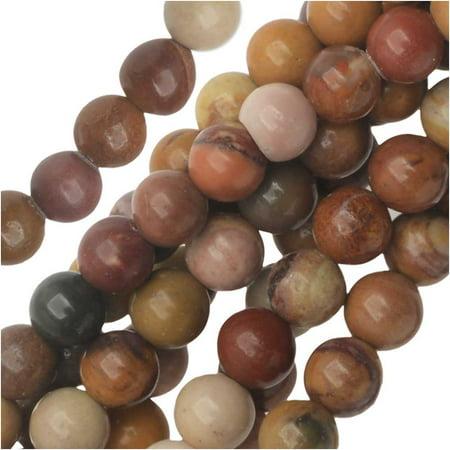 Mookaite Jasper Beads - Dakota Stones Gemstone Beads, Sunset Mookaite, Round 4mm, 8 Inch Strand