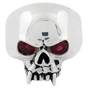 Sterling Silver Vampire of Hell Garnet Cubic Zirconia Eyes Skull Ring 18