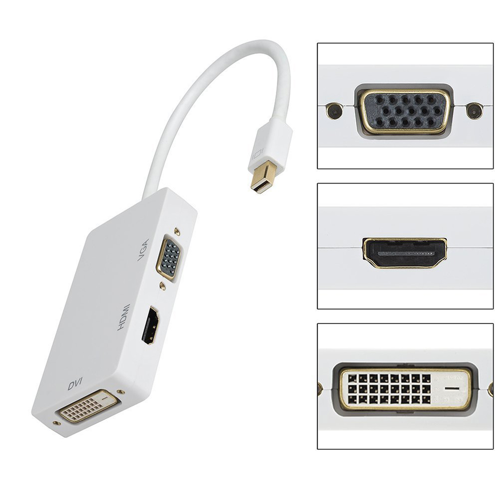 Bonrich Lightning Mini DisplayPort HDMI/VGA/DVI 4Kx2K Adapter DP 1.2 to VGA HDMI 4KX2K DVI 3-in-1 Computer Cable MD19 White