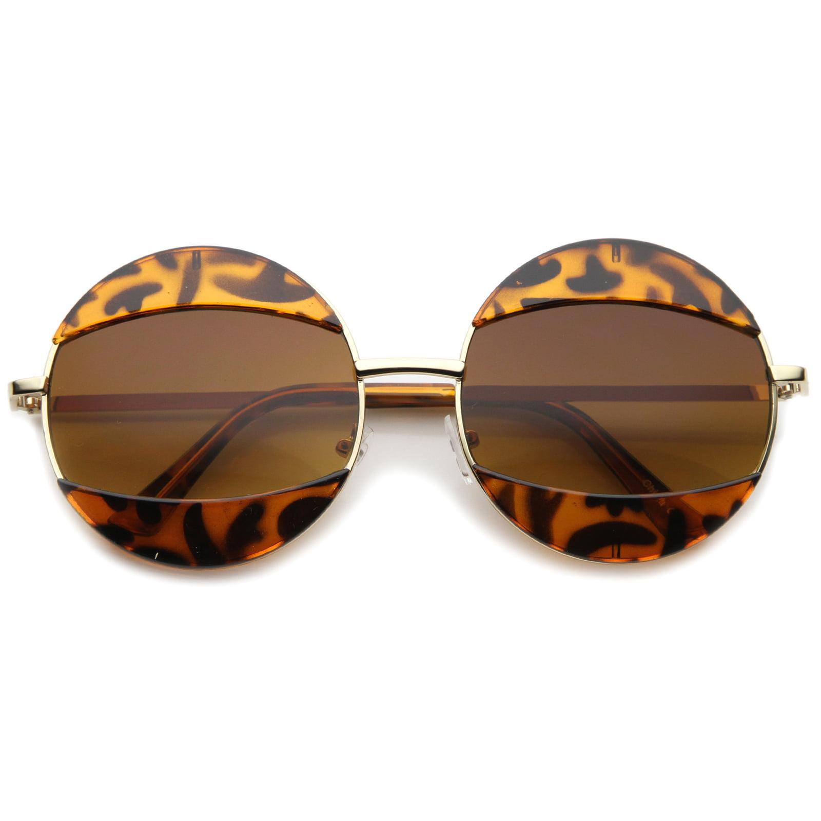 sunglassLA - Women's High Fashion Eyelid Metal Frame Oversize Round Sunglasses - 58mm