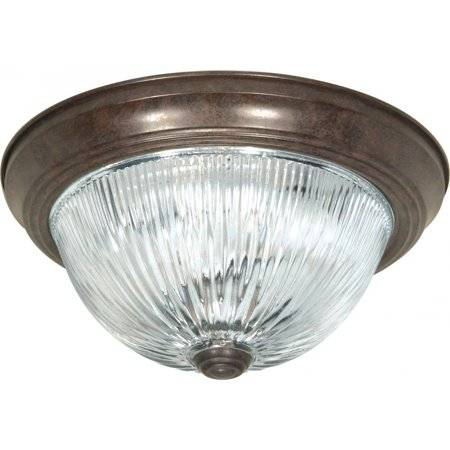 - SF76/606 11-Inch Old Bronze Flush Dome with Clear Ribbed Glass By Nuvo Ship from US