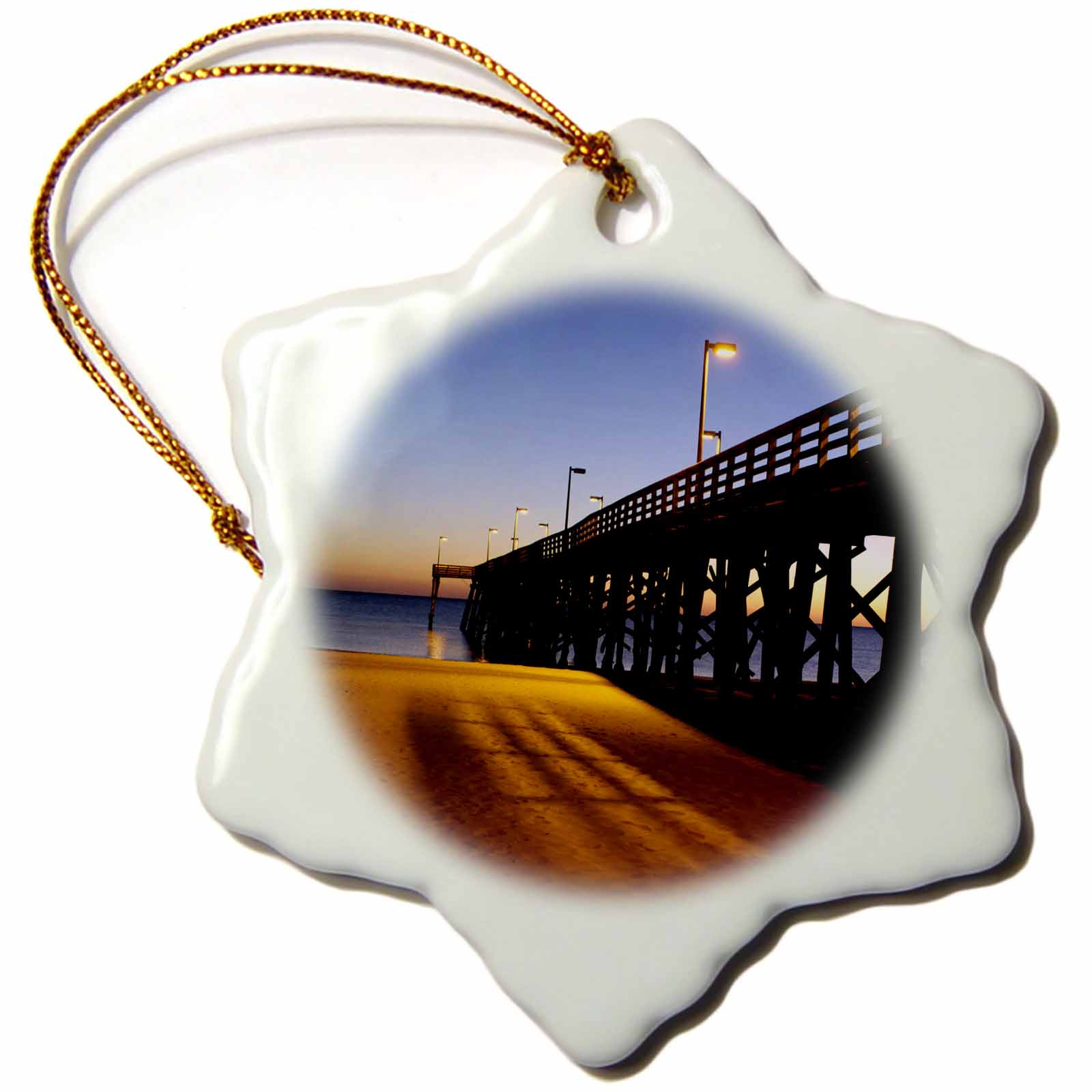 3dRose Public Pier, Gulf of Mexico, Panama City, Florida - US10 FVI0111 - Franklin Viola, Snowflake Ornament, Porcelain, 3-inch