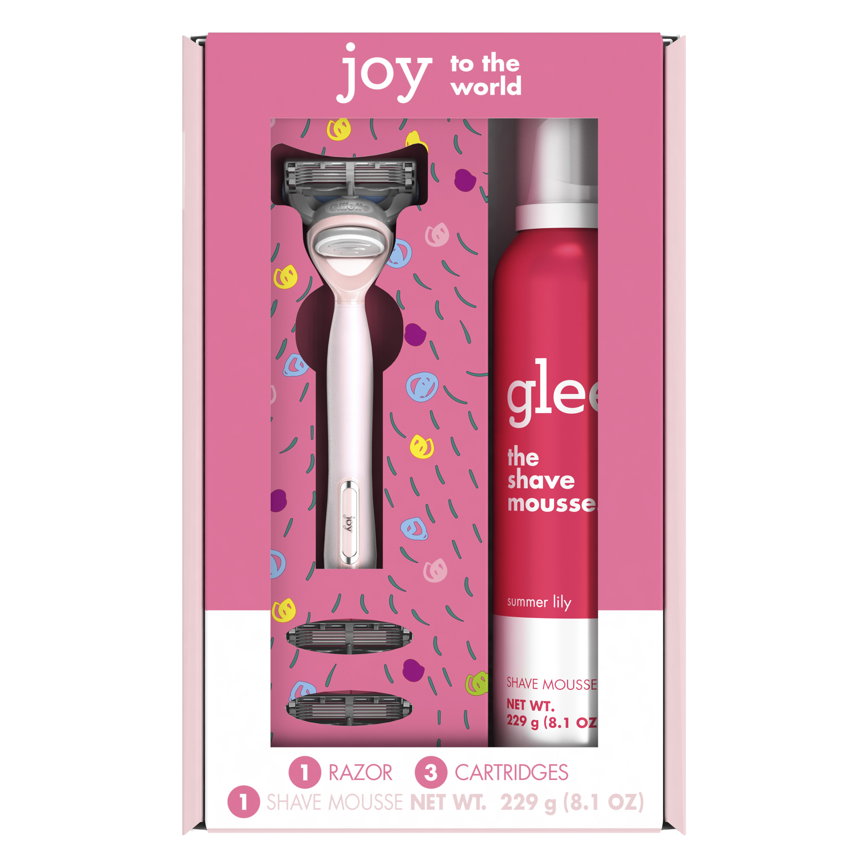 Joy Pink Women's Holiday Gift Set including 1 Handle, 3 Refills and a Shave Mousse