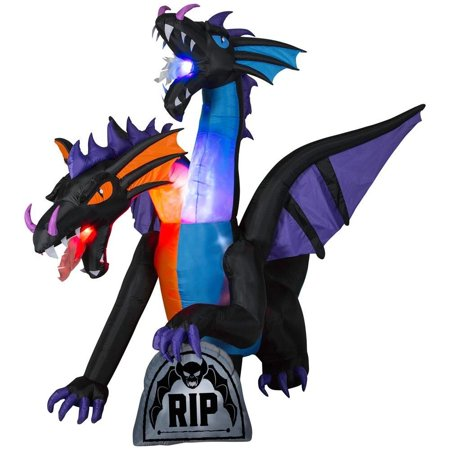 Home Accents Holiday Halloween  Inflatable 7.81 ft. Pre-Lit Fire and Ice 2-Headed Dragon with Flaming Mouth (BBG Decor  - Halloween Inflatable Dragon