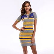 Women's Stripe Knitted Tight Package Hip Sexy Short Sleeve High Waist Vintage Pencil Dress