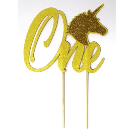 All About Details Unicorn Theme One Cake Topper, 1pc, 1st Birthday Cake Topper, 1st Birthday Party Decoration (Glitter Pastel Yellow & - 1 Birthday Theme