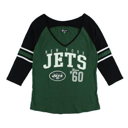 NFL Womens New York Jets Three Quarter V Neck T Shirt Green - New York Jets Art
