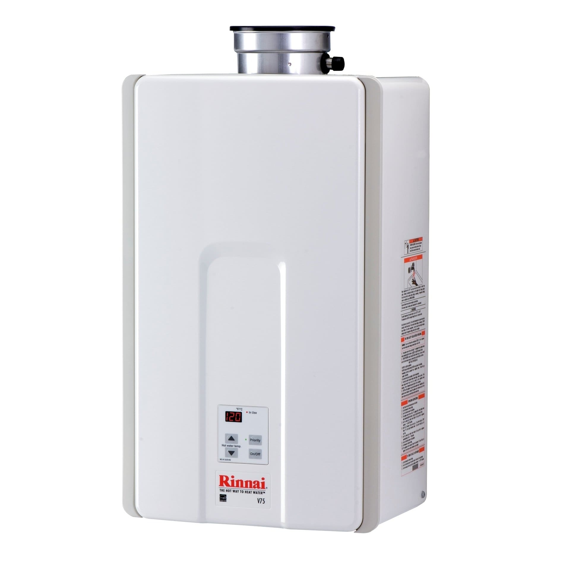 Rinnai Tankless Water Heater Residential Interior Max Btu 180 000 7 5gpm V75in White