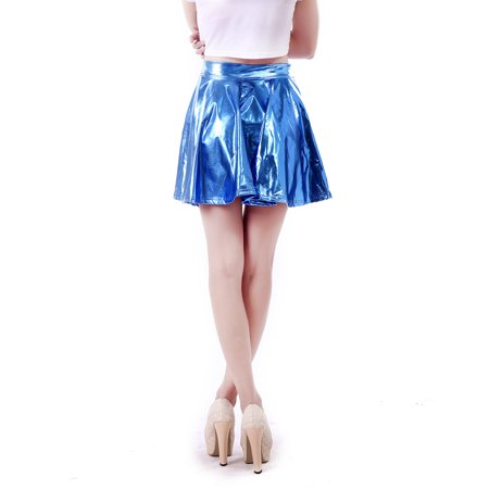 885a57635c96d HDE Plus Size Shiny Liquid Skater Skirt Flared Metallic Wet Look Pleated  Skirt (Silver