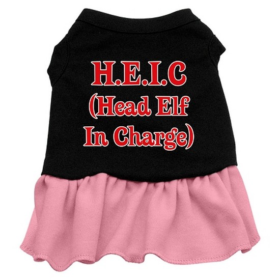 Head Elf in Charge Screen Print Dress Black with Pink XXXL (20)