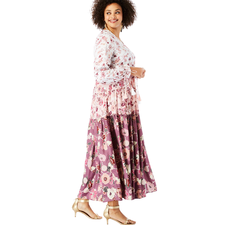 Roaman\'s - Roaman\'s Plus Size Drawstring-sleeve Maxi Dress ...
