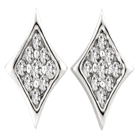 10K White Gold 1cttw Rhombus Style Pave Set Round Diamond Stud Earring
