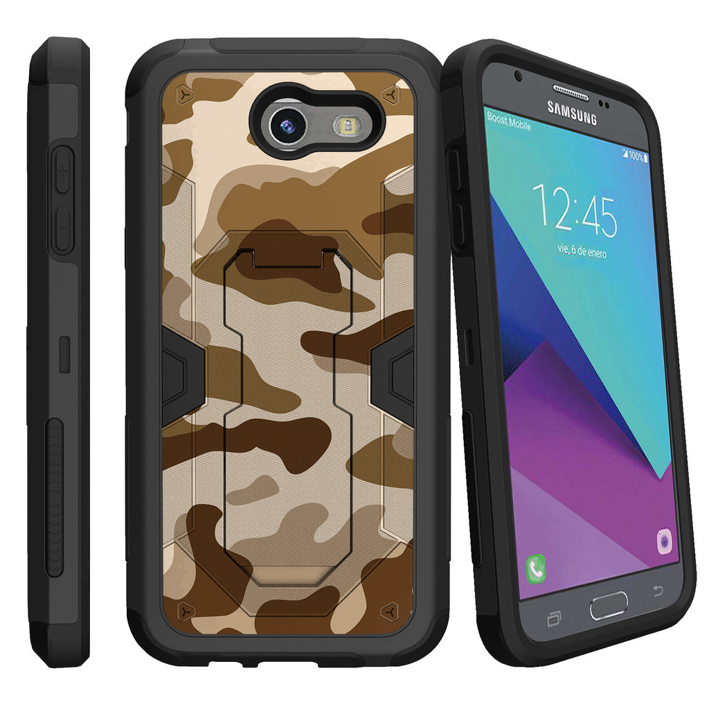 Samsung Galaxy J3 Emerge Case | J3 2017 Release Case [Max Defense] Dual Layer Case with Built In Kickstand + Belt Clip - Army Camo