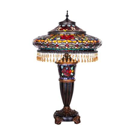 River of Goods Stained Glass Parisian Double Lit Table Lamp