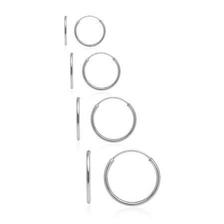 14mm Endless Hoop Earrings (Sterling Silver 10mm, 12mm, 14mm& 16mm Small Endless Hoop Earrings, Set of)