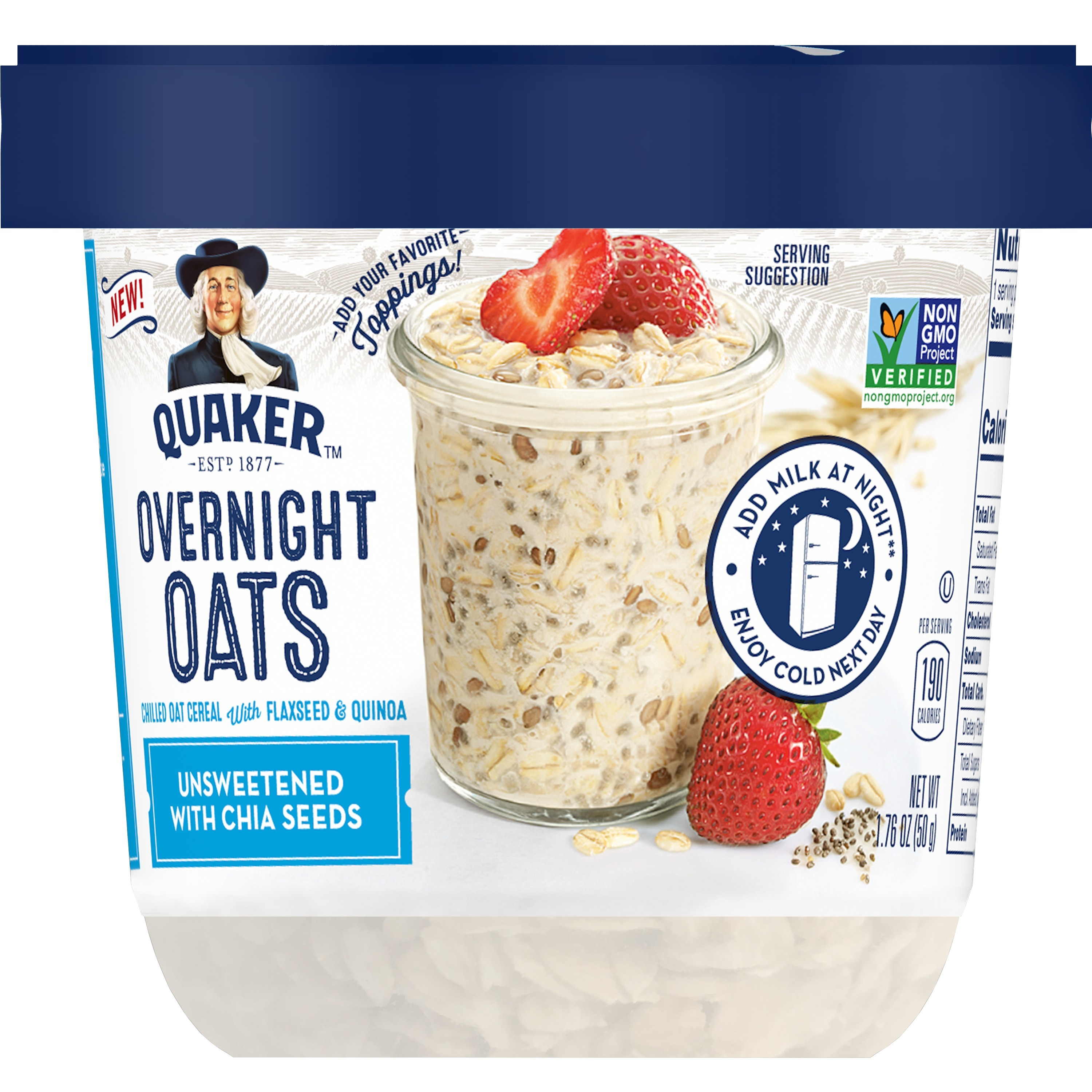 Quaker Overnight Oats, Unsweetened with Chia, Breakfast Cereal, 2.61 oz Cup