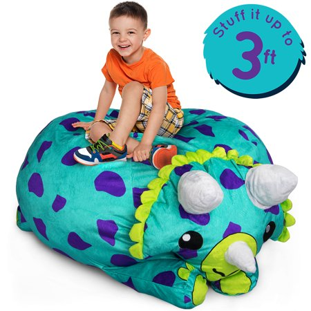Dinosaur Stuffums, 3ft Stuffed Animal Storage Bean Bag Chair Holds 50 - 8 Plush Bean Bag