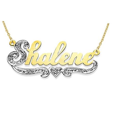 Personalized 0.10 CARAT DIAMONDS Shiny Nameplate Necklace Sterling Silver or Yellow Gold Plated Silver. Special Order, Made to (Shiny Silver Plated)