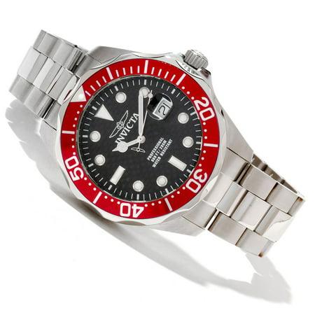 - 12565 Men's Grand Diver Black Carbon Fiber Dial Red Bezel Stainless Steel Bracelet Dive Watch