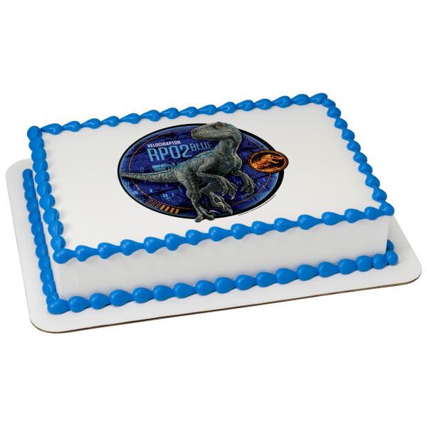 Outstanding Jurassic World 2 Blue 1 4 Sheet Image Cake Topper Edible Birthday Birthday Cards Printable Benkemecafe Filternl