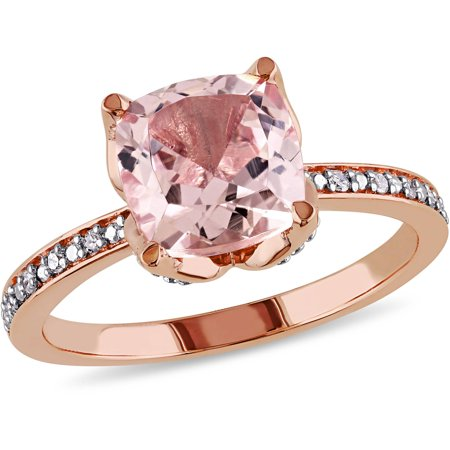 Tangelo 2 Carat T.G.W. Morganite and Diamond-Accent 10kt Rose Gold Cocktail Ring