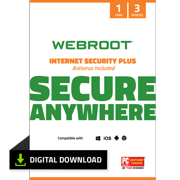 Webroot Internet Security Plus + Antivirus | 3 Device | 1 Year | Digital Download