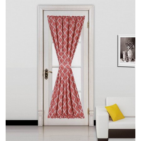 "ELLA RED-WHITE 2 Tone Color 1pc French Door 55""W x 72""L Foam Backing Insulated Thermal Blackout Rod Pocket Curtain Panel with matching 1 Tieback"