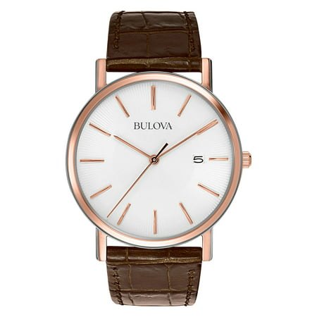 - Bulova Mens White Leather Strap, Pearlized Patterned Dial Watch - 98H51