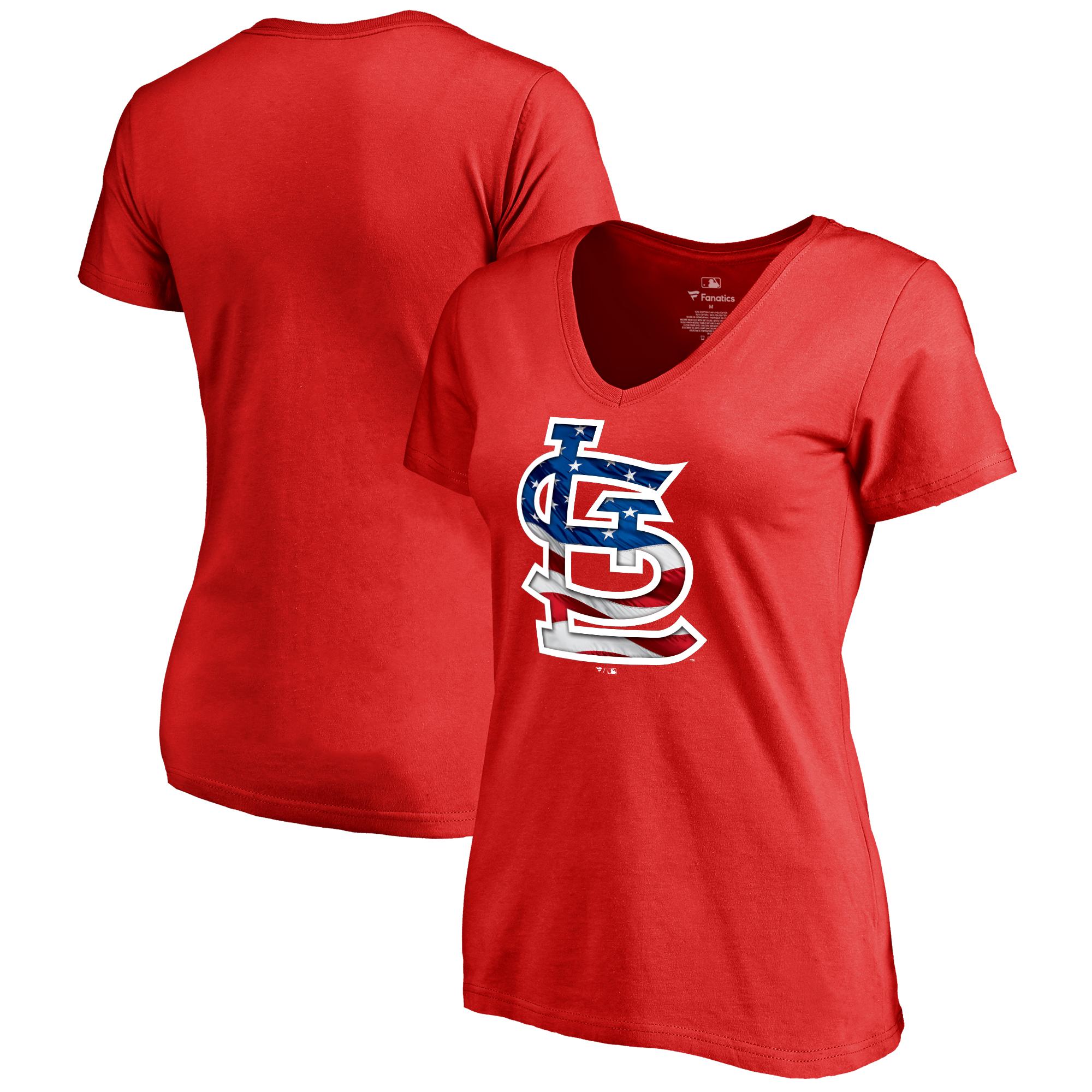 St. Louis Cardinals Fanatics Branded Women's 2018 Memorial Day Banner Wave Plus Size T-Shirt - Red