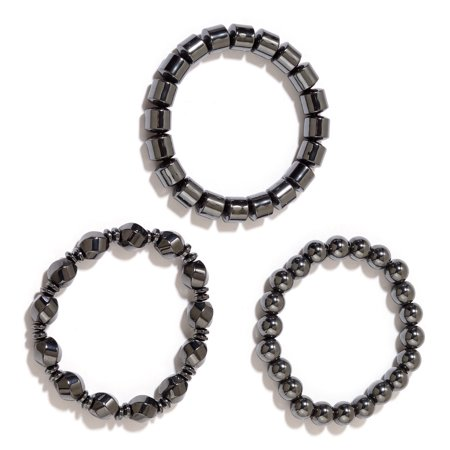 Set of 3 Hematite Metal Healing Energy Magnetic Therapy Beads Stretch Bracelet for Women Stretchable