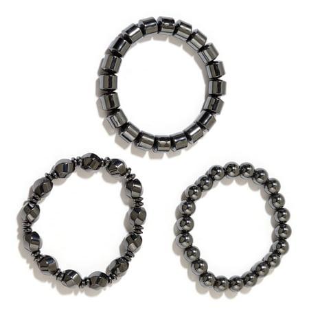 Set of 3 Hematite Metal Healing Energy Magnetic Therapy Beads Stretch Bracelet for Women (3 Black 10 Bracelet)