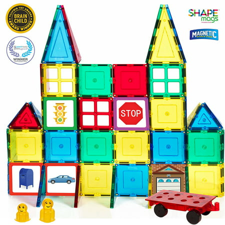Shape Mags Magnetic 60 Piece Red, Blue, Green, Yellow Starter Building Magnet Tiles Set. Includes 4 Windows; Durable Sturdy Magnetic Tiles