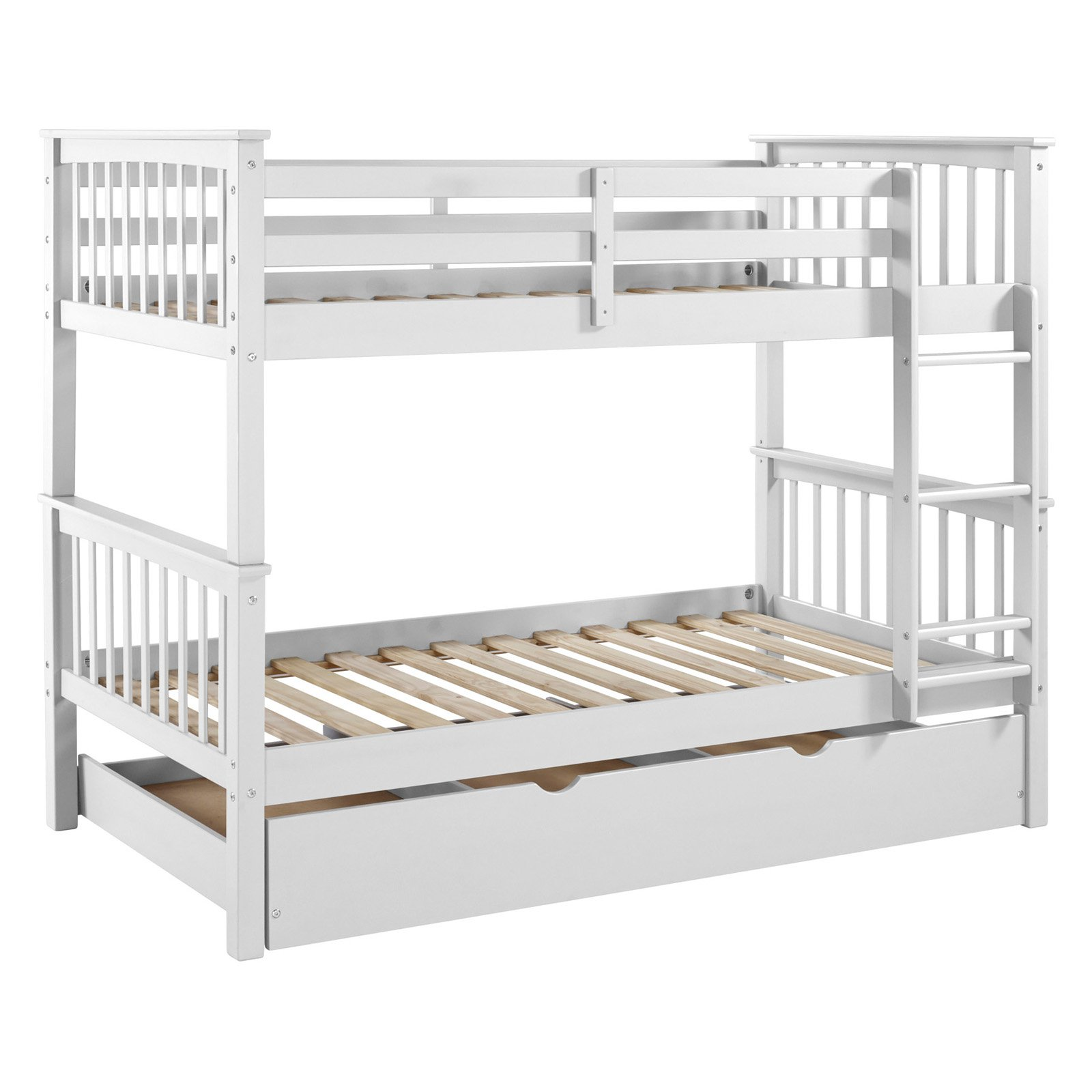 Walker Edison Solid Wood Twin over Twin Bunk Bed with Trundle