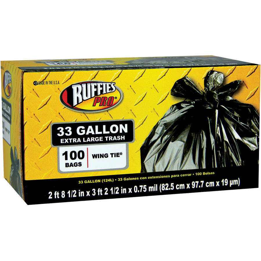 Ruffies Pro Extra Large Wing Tie Trash Bags, 33 gal, 100 count