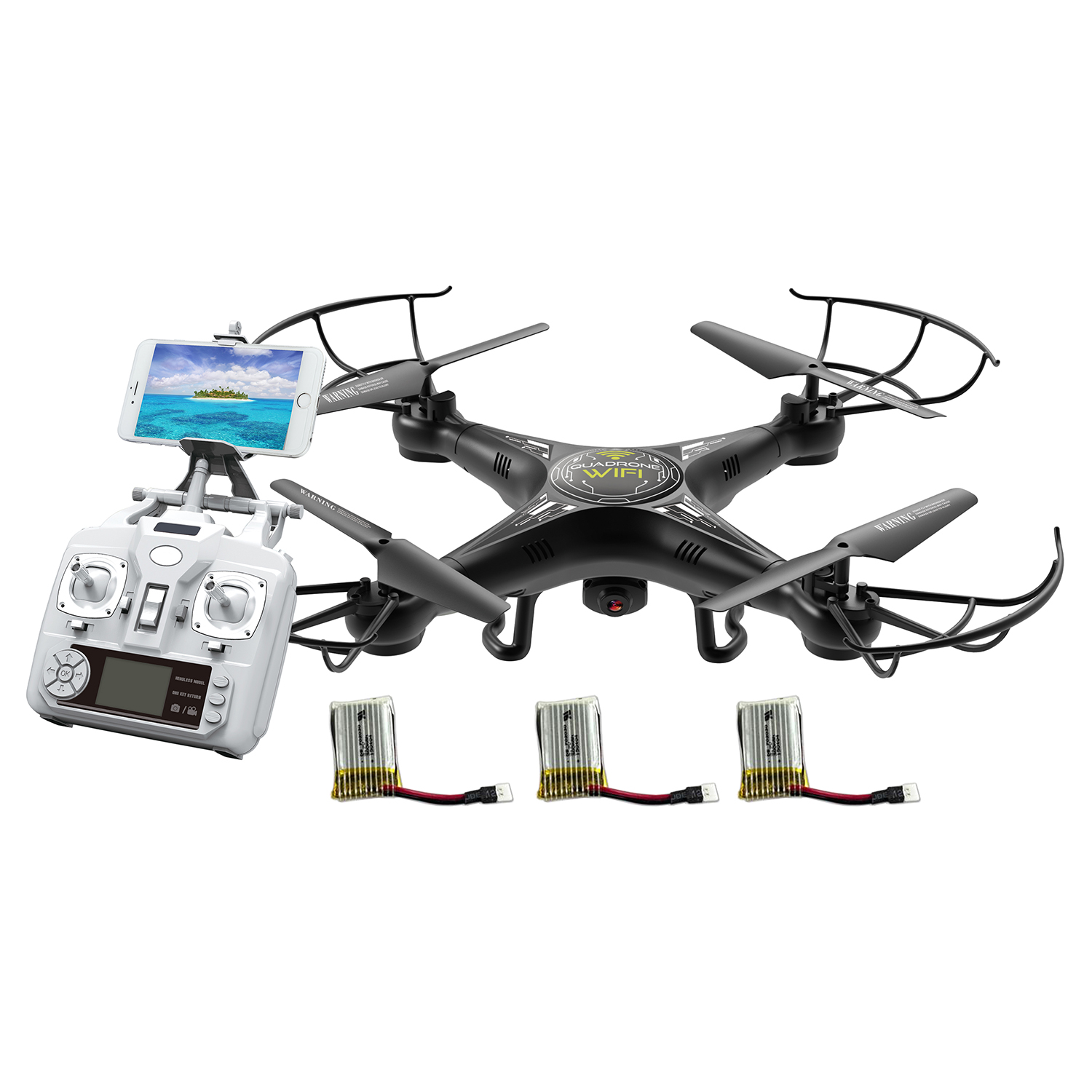 Alta Quadcopter  Wi-Fi RC Drone with FPV Live Stream Camera, Remote Control and 3 Batteries