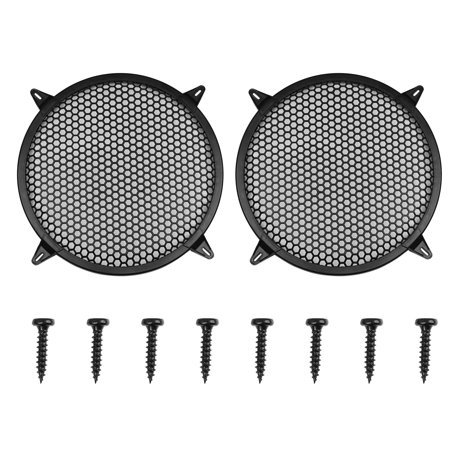 """2pcs 12"""" Black Round Car Speakers Cover Plastic Mesh Woofer Subwoofer Grill Protector"""