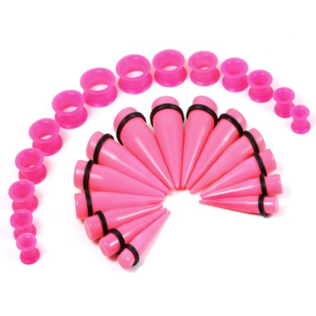 Blomdahl Ear Piercing - BodyJ4You 28PC Big Gauges Kit Ear Stretching 00G-22mm Hot Pink Taper Silicone Plug Tunnel Piercing