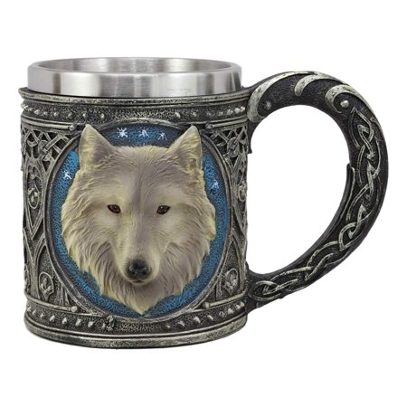 Ebros Gift Alpha Direwolf Wolf Celtic Tribal Magic Resin 16oz Drinking Mug With Stainless Steel Rim Figurine For Coffee Tea Cereal Drinks Halloween Kitchen Dining Decor Of Timber Wolves - Halloween Drinking Gif