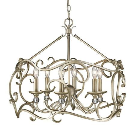 Crystal Chandelier Gold Finish (Golden Lighting 4616-6 Colette 6 Light Candle Style Chandelier )