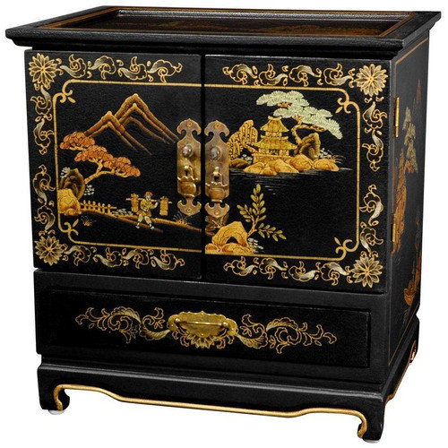 Oriental Furniture Lacquer Black Crackle Empress Jewelry Box
