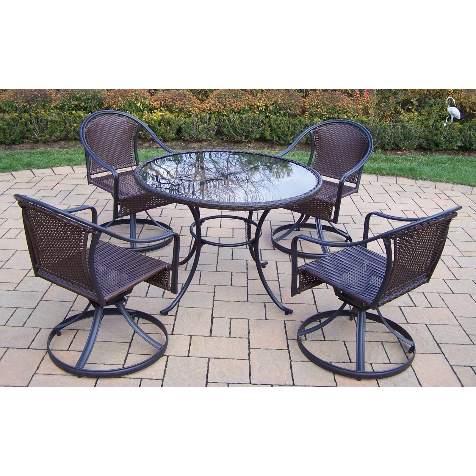 Oakland Living Elite Tuscany Resin Wicker Swivel Patio Dining Set
